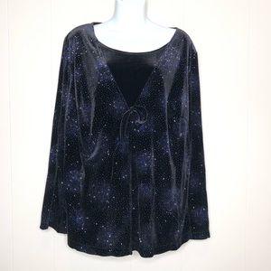 🌻4/$20 STUDIO 1940 Velvet Blue Sparkle Shirt
